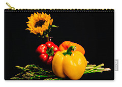 Still Life Peppers Asparagus Sunflower Carry-all Pouch by Jon Woodhams