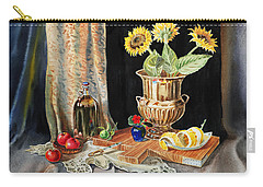 Still Life With Sunflowers Lemon Apples And Geranium  Carry-all Pouch by Irina Sztukowski