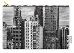 Streeterville From Above Black And White Carry-all Pouch by Adam Romanowicz