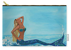 Sunbathing Mermaid Carry-all Pouch by Leslie Allen