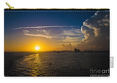 Sunset Over Miami From Out At Sea Carry-all Pouch by Rene Triay Photography