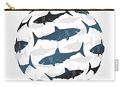 Swimming Blue Sharks Around The Globe Carry-all Pouch by Amy Kirkpatrick