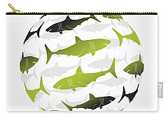Swimming Green Sharks Around The Globe Carry-all Pouch by Amy Kirkpatrick