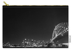 Sydney By Night Black And White Carry-all Pouch by Kaleidoscopik Photography