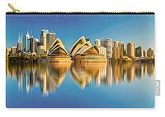 Sydney Skyline With Reflection Carry-all Pouch by Algirdas Lukas