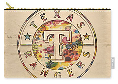 Texas Rangers Poster Vintage Carry-all Pouch by Florian Rodarte