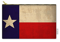 Texas State Flag Lone Star State Art On Worn Canvas Carry-all Pouch by Design Turnpike