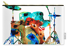 The Drums - Music Art By Sharon Cummings Carry-all Pouch by Sharon Cummings