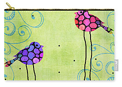 Three Birds - Spring Art By Sharon Cummings Carry-all Pouch by Sharon Cummings