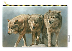 Three Wolves Carry-all Pouch by David Stribbling