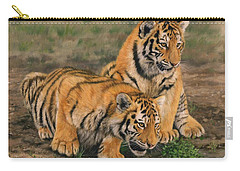 Tiger Cubs Carry-all Pouch by David Stribbling