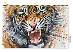 Tiger Watercolor Portrait Carry-all Pouch by Olga Shvartsur