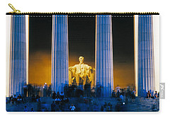 Tourists At Lincoln Memorial Carry-all Pouch by Panoramic Images