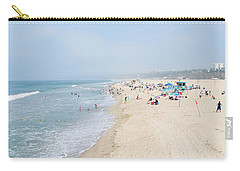 Tourists On The Beach, Santa Monica Carry-all Pouch by Panoramic Images