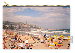 Tourists On The Beach, Sitges, Spain Carry-all Pouch by Panoramic Images