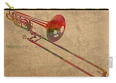 Trombone Brass Instrument Watercolor Portrait On Worn Canvas Carry-all Pouch by Design Turnpike