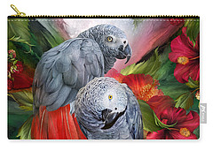 Tropic Spirits - African Greys Carry-all Pouch by Carol Cavalaris
