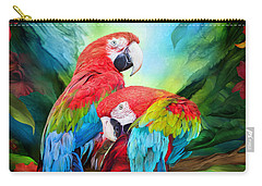 Tropic Spirits - Macaws Carry-all Pouch by Carol Cavalaris