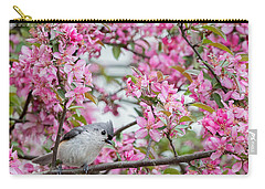 Tufted Titmouse In A Pear Tree Square Carry-all Pouch by Bill Wakeley