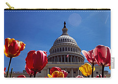 Tulips With A Government Building Carry-all Pouch by Panoramic Images