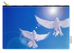 Two Doves Side By Side With Wings Carry-all Pouch by Panoramic Images