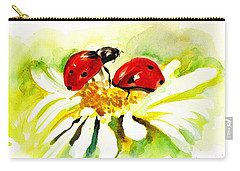 Two Ladybugs In Daisy After My Original Watercolor Carry-all Pouch by Tiberiu Soos