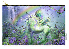 Unicorn Of The Butterflies Carry-all Pouch by Carol Cavalaris