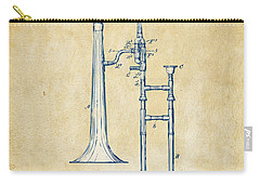 Vintage 1902 Slide Trombone Patent Artwork Carry-all Pouch by Nikki Marie Smith