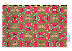 Watermelon Flamingo Print Carry-all Pouch by Susan Claire