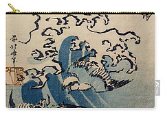 Waves And Birds Carry-all Pouch by Katsushika Hokusai
