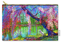 Weeping Beauty, Cherry Blossom Tree And Heron Carry-all Pouch by Jane Small