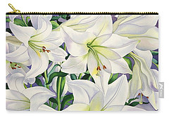 White Lilies Carry-all Pouch by Christopher Ryland