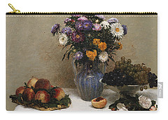 White Roses And Chrysanthemums Carry-all Pouch by Ignace Henri Jean Fantin-Latour