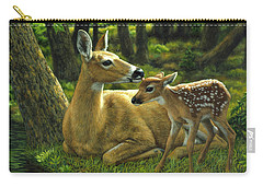 Whitetail Deer - First Spring Carry-all Pouch by Crista Forest