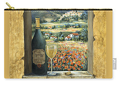 Wine And Poppies Carry-all Pouch by Marilyn Dunlap