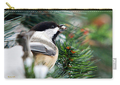 Winter Chickadee With Seed Carry-all Pouch by Christina Rollo