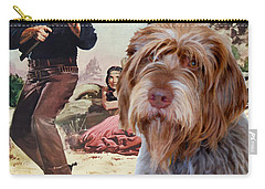 Wirehaired Pointing Griffon - Korthals Griffon Art Canvas Print - The Searchers Movie Poster Carry-all Pouch by Sandra Sij