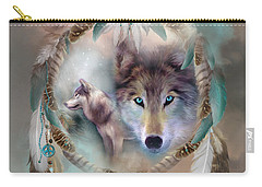 Wolf - Dreams Of Peace Carry-all Pouch by Carol Cavalaris
