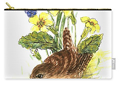 Wren In Primroses  Carry-all Pouch by Nell Hill