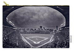Wrigley Field Night Game Chicago Bw Carry-all Pouch by Steve Gadomski