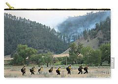 Carry-all Pouch featuring the photograph Wyoming Hot Shots Walk To Their Assignment by Bill Gabbert