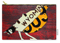 Wyoming Meadowlark Wild Bird Vintage Recycled License Plate Art Carry-all Pouch by Design Turnpike