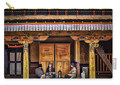 Yak Butter Tea Break At The Potala Palace Carry-all Pouch by Joan Carroll
