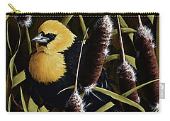 Yellow Headed Blackbird And Cattails Carry-all Pouch by Rick Bainbridge