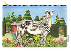 Zebra In A Garden Carry-all Pouch by Anthony Southcombe