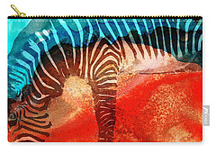 Zebra Love - Art By Sharon Cummings Carry-all Pouch by Sharon Cummings