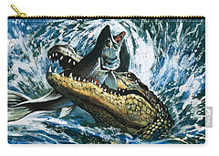 Alligator Eating Fish Carry-all Pouch by English School