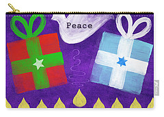 Christmas And Hanukkah Peace Carry-all Pouch by Linda Woods