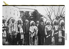 Coolidge With Native Americans Carry-all Pouch by Photo Researchers
