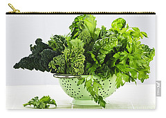 Dark Green Leafy Vegetables In Colander Carry-all Pouch by Elena Elisseeva